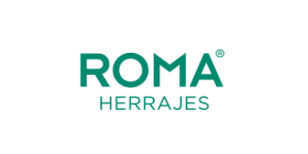 Logo romboide blanco Herrajes Roma